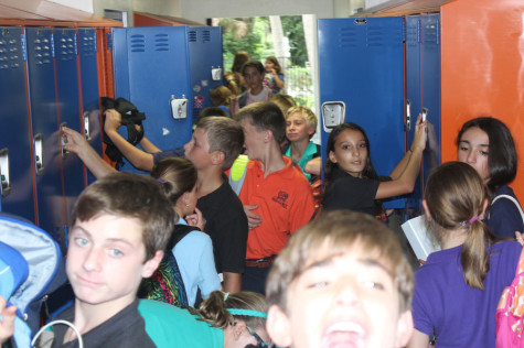 The seventh-grade hallway, pictured here, can be hard to navigate through according to some students.