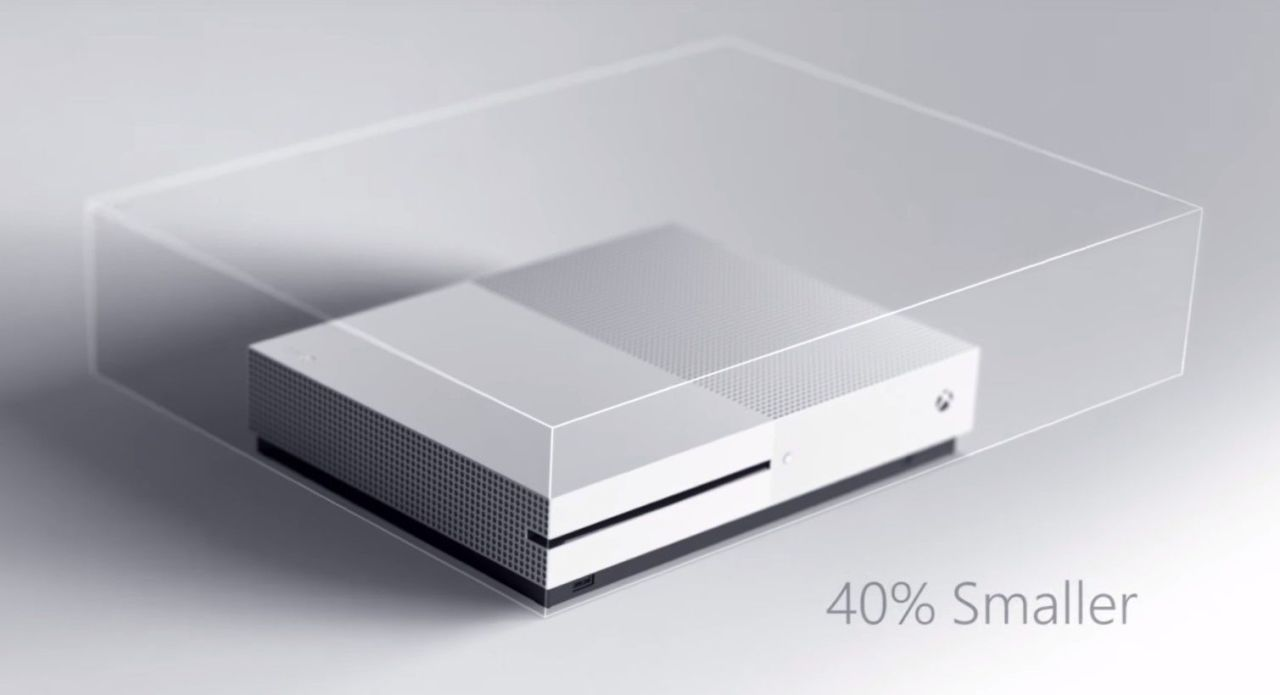 This photo captures the difference in size between the new, smaller Xbox One S and its predecessor, the Xbox one.
