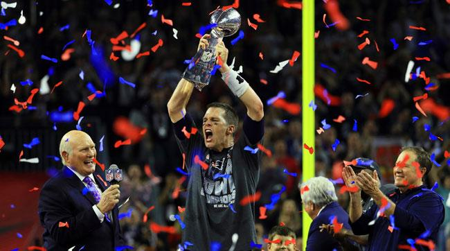 Tom+Brady+celebrates+with+the+Lombardi+Trophy+after+Super+Bowl+LI.+Brady+and+the+Patriots+completed+the+greatest+comeback+in+Super+Bowl+history.
