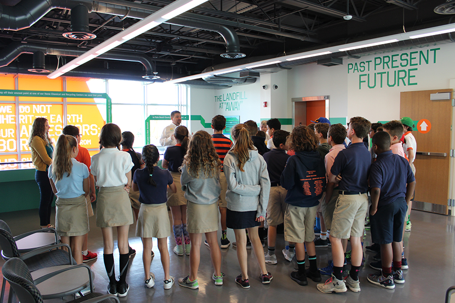 Mr. Brian Elkins welcomes the sixth graders to the SWA facility in West Palm Beach.