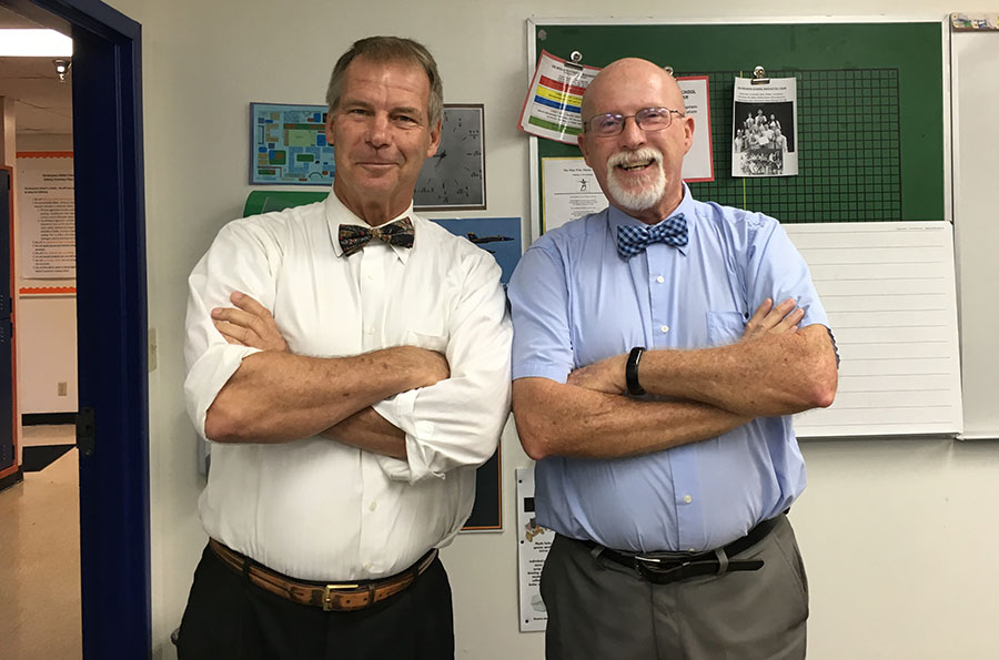 After+last+year%27s+dedication+ceremony%2C+honoree+Mr.+Marshall+Mullnix+%28right%29+poses+with+retired+science+teacher+Mr.+Tim+Sanders.