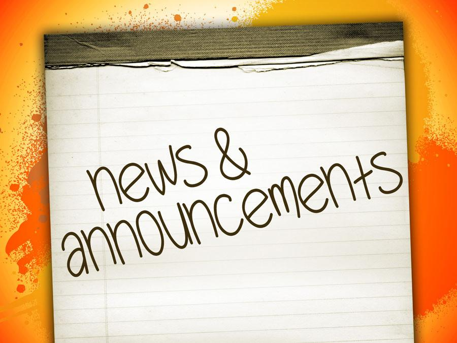 Announcements - Friday, May 22, 2020
