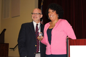 ADL representative Mrs. Claudia Rodriguez presents Head of Middle School Mr. Charles Hagy with a glass globe as an appreciation for his leadership.