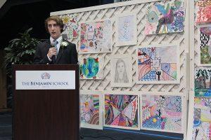 Eighth grader Alex Goetschius addresses those in attendance.