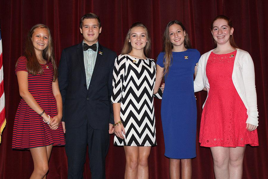 Left to right: Treasurer Emeline Smith, presidential candidate Hudson Hale, President Briley Crisafi, Secretary Madeline Caruso, and Vice President Alexandra Kahn.