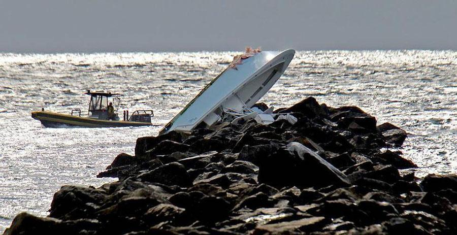 Kaught Stealing, the boat in which José Fernandez was riding, is shown atop the jetty on which it crashed September 25, 2016.