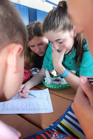 Sixth graders Jessica Holland (right) and Grace Tighe fill out the drug and alcohol awareness trivia sheet during lunch on Monday, October 24.
