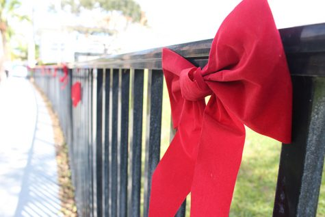 Red ribbons line the fence separating the quad from the Kennerly Field.