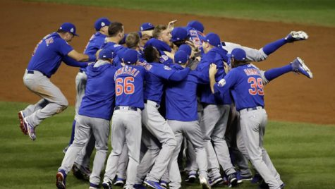 The Chicago Cubs celebrate after Game 7 of the Major League Baseball World Series against the Cleveland Indians on Thursday, Nov. 3, 2016, in Cleveland. The Cubs won 8-7 in 10 innings to win the series 4-3.