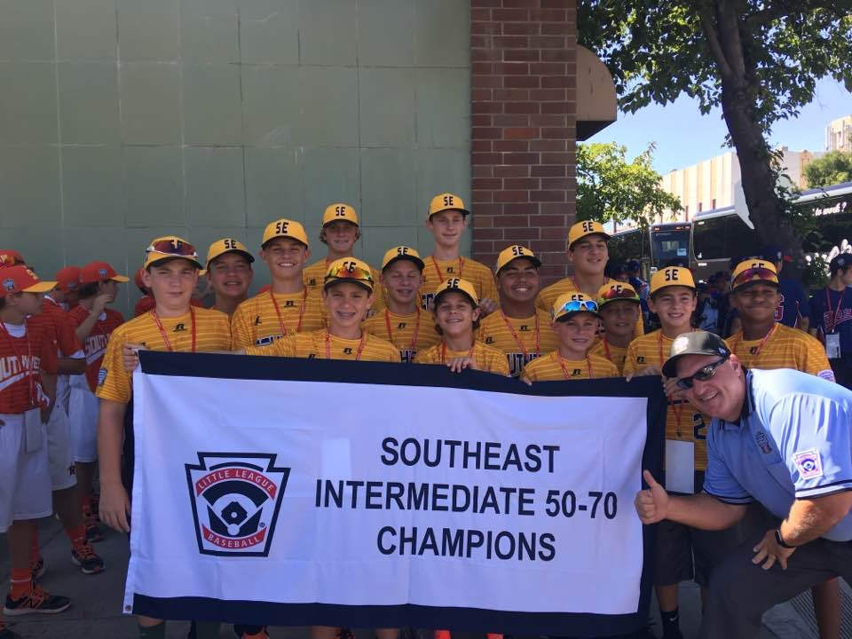 Jack+Savery+%28third+row%2C+second+from+left%29+and+his+teammates+display+their+southeast+champions+banner+during+the+opening+ceremonies+of+the+Intermediate+Division+Little+LEague+World+Series+in+Livermore%2C+California.