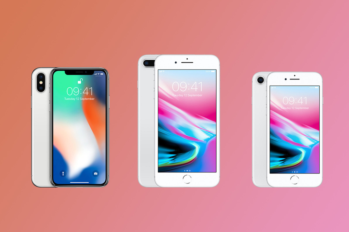 Left to right: the Apple iPhone X, 8 Plus, and 8 may be popular gifts this holiday season.