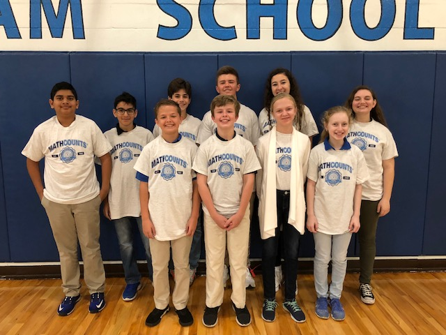 The 2017-18 TBS MATHCOUNTS team: back row, left to right -  Aadi Patel (7), Kiran Spencer (7), Jake Zur (8), Jack Horgen (8), Madeline Comorat (8), and Grace Kearns; front row, left to right - Jonathan Skatoff, Wilson Stewart, Addie Vining, and Joie Rodin