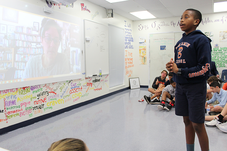 Seventh grader Alexander Fleming-Lake speaks with Ms. Baskin during the Skype session organized by Dr. James on February 15, 2018.
