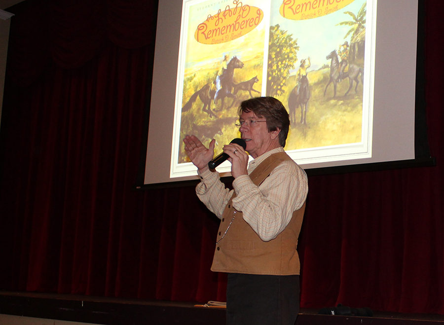 Mr. Rick Smith conducts his presentation in the Barker Performing Arts Center on March 13.
