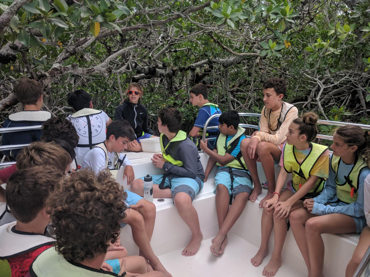 The students learn about mangroves and the coastal ecosystem during one of their boat rides in the Keys.