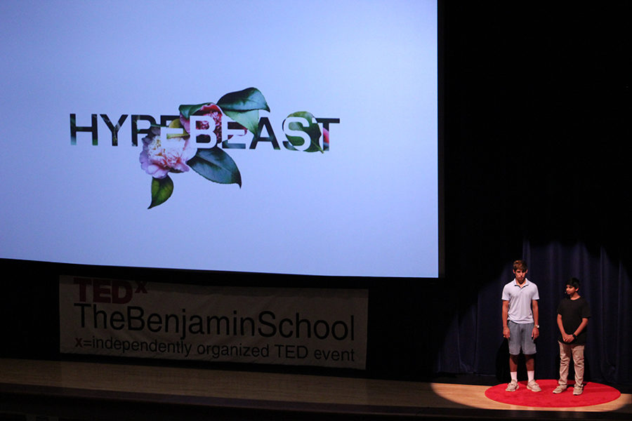 Eighth graders Cameron Salehi and Sai Chigurupati talk about how they went from big online spenders to philanthropists during their TEDx talk on Saturday, April 21 in Benjamin Hall.