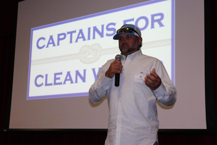 Boat+captain+Chris+Wittman+explains+the+dire+state+of+the+Everglades+to+the+middle+school+students+on+August+4.