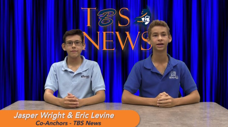 Eighth+graders+Jasper+Wright+and+Eric+Levine+anchor+their+first+TBS+News+broadcast.