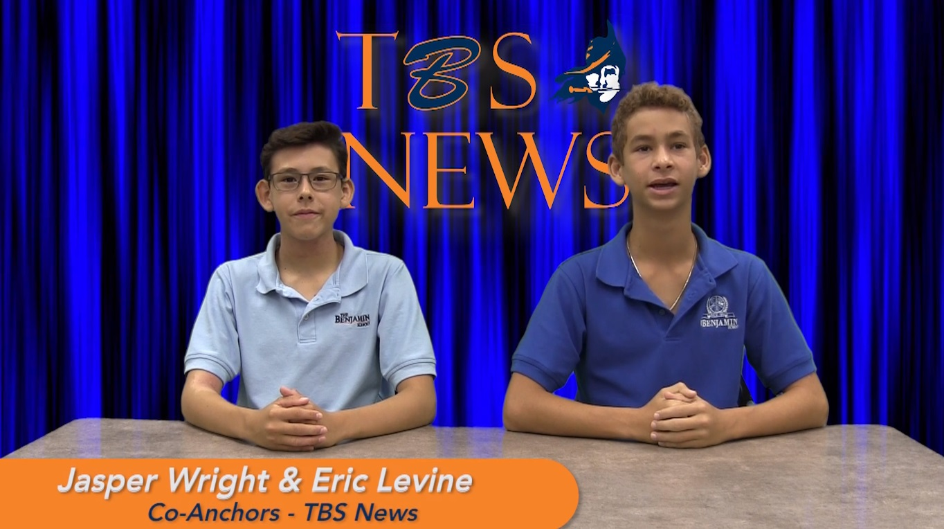 Eighth graders Jasper Wright and Eric Levine anchor their first TBS News broadcast.