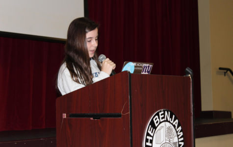 Eighth grader Jessica Holland  delivers her campaign speech to students in the BPAC on September 24, 2018.