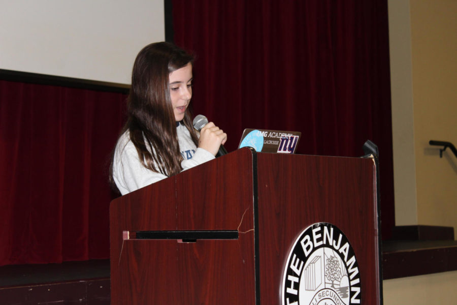 Eighth+grader+Jessica+Holland++delivers+her+campaign+speech+to+students+in+the+BPAC+on+September+24%2C+2018.