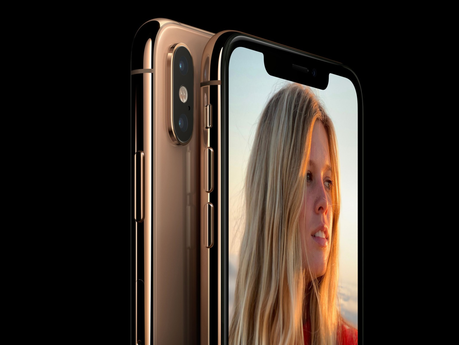 The new gold iPhone Xs sports stainless steel borders and a glass back.