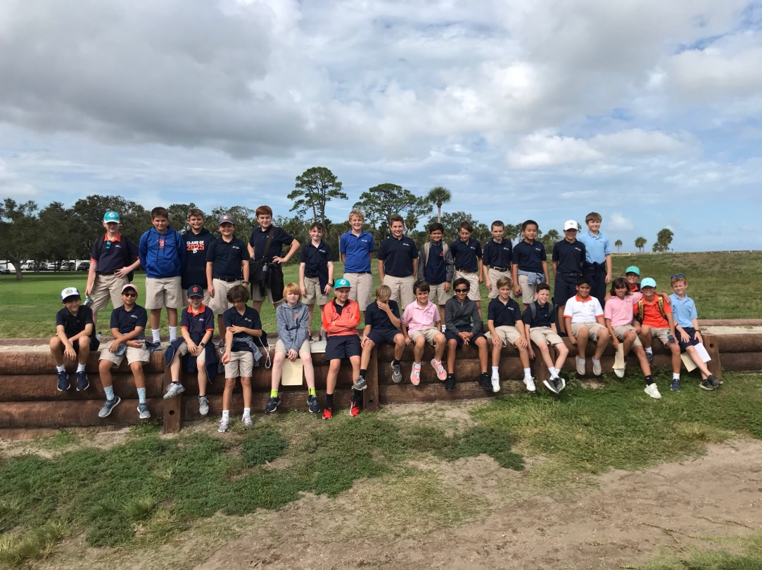 The sixth-grade boys get together for a picture outside the Castillo de San Marcos, the oldest masonry fort in the contiguous United States.