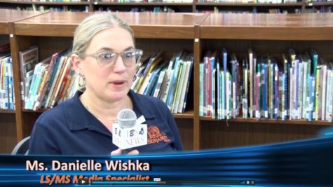 Ms. Wishka talks about her plans for the library/media center during the TBS News broadcast.