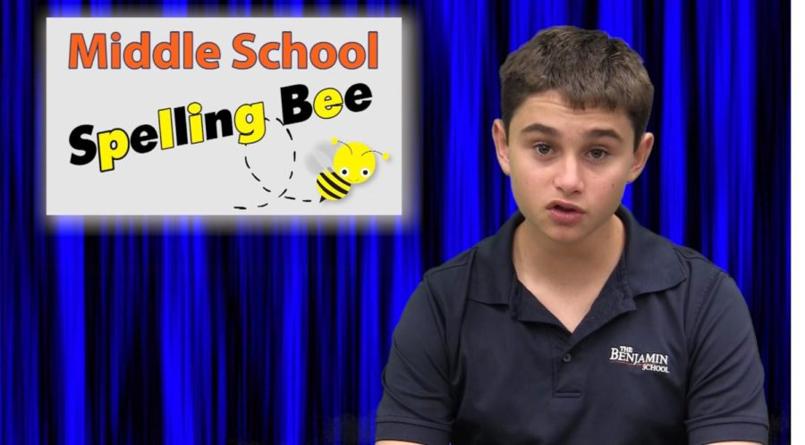 TBS News Co-Anchor Antonio Gambino provides information about the school spelling bee.