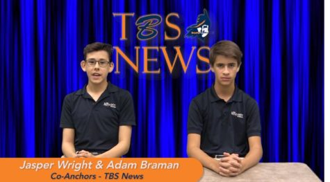 Jasper Wright and Adam Braman co-anchor the April 8, 2019 broadcast of TBS news.
