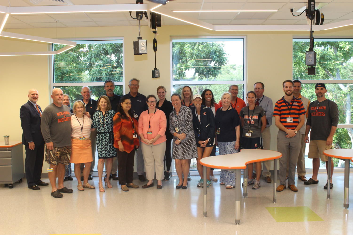 All of the middle school teachers pose for a picture in the newly built Maglio Family STEM Center on May 1, 2019.