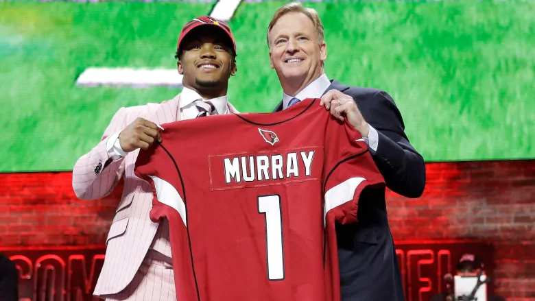 Oklahomas Kyler Murray, pictured with NFL Commissioner Roger Goodel, was chosen first overall by the Arizona Cardinals.