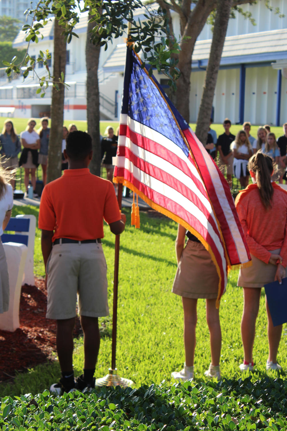 Students take a moment of silence at the 9/11 ceremony.