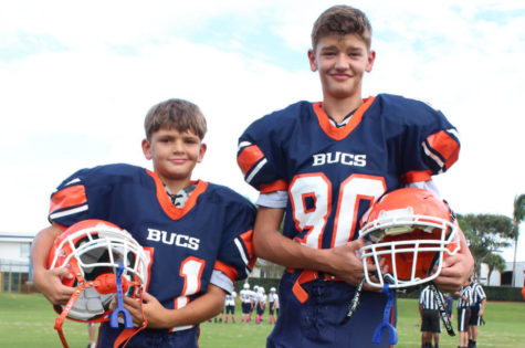 Julian and Joshua Luiz pose for a photo prior to their final game against American Heritage Delray on October 10.