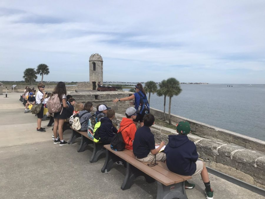 Sixth-graders take in the view of the Mantanza River from the top of Castillo de San Marcos.