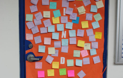 The Kindness door is outside the buc-cafe and it is used to display all the kind acts going on in the middle school.