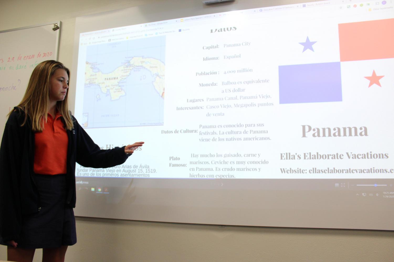 Seventh-grader Ella Bailey presents her brochure on Panama.