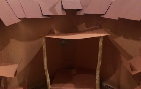 Hannah Beam's scale version of the Globe Theater is made primarily of construction paper and pipe cleaners.