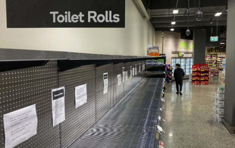 A shelf of toilet paper is completely empty in this Australian supermarket due to COVID-19.