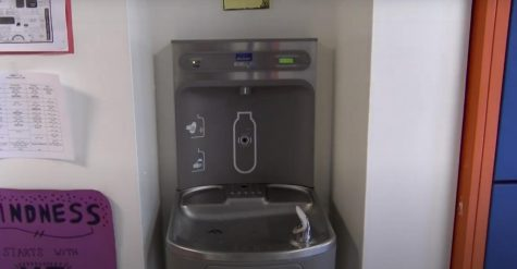 When students return to school, they will not be allowed to drink from the water fountains, such as this one in the eighth-grade hallway.