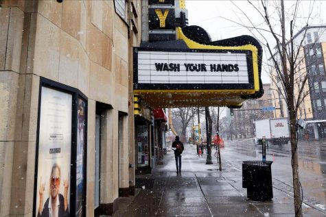 Thousands of theaters across the country have closed, like this one in Minneapolis which reminds passers-by to be hygienic.