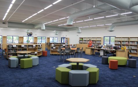 The renovated library offers an open floor plan, new seating arrangements, and spaces for new technology.