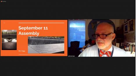 Mr. Hagy opens up the virtual remembrance presentation via Zoom on 9/11.
