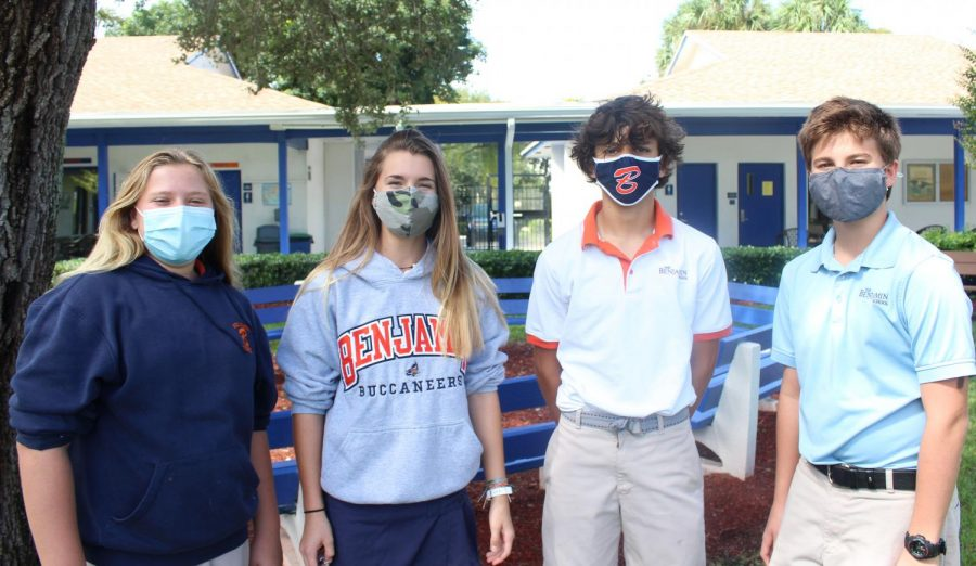 Eighth graders Rachel Haueisen (secretary), Ella Bailey (vice president), Scott Noble (president), and Chester Coles (treasurer) make up this year's new slate of officers.