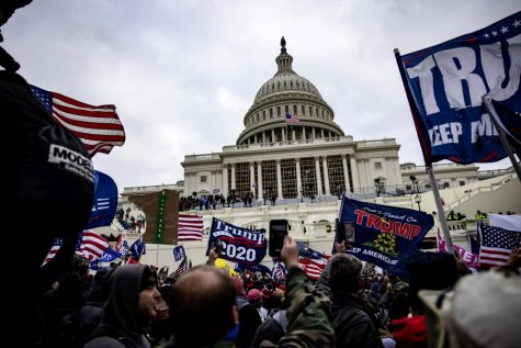 Protestors gather around the U.S. Capitol on January 6, 2021.