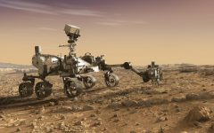 The Mars rover, Perseverance, uses its robotic arm in an artist's concept illustration.