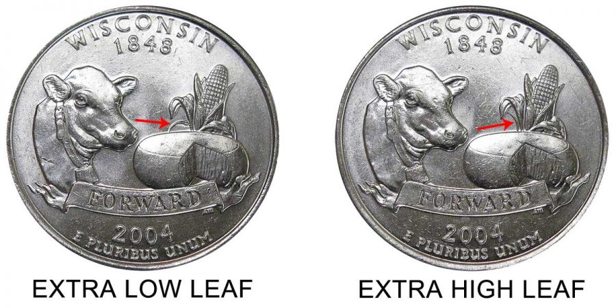 The 2004 Wisconsin state quarter has a couple of variants resulting in an extra low leaf and an extra high leaf on the corn stalk.