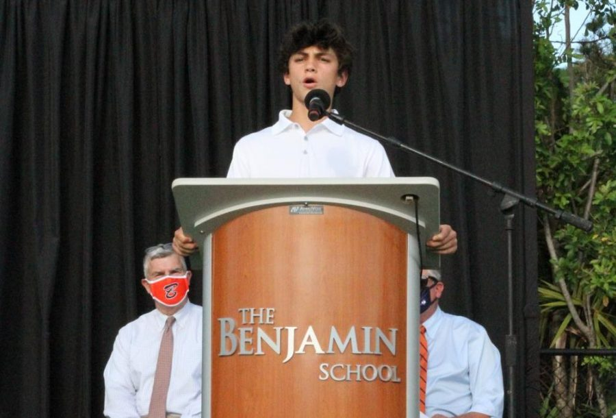 Student+Council+President+Scott+Noble+addresses+the+Class+of+2025+during+the+Moving-Up+Ceremony+on+Tuesday%2C+May+18.